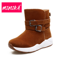 MINIKA New Arrival 2017 Women Ankle Boots Fashion Buckle Decoration Durable Winter Boots Women Warm Plush