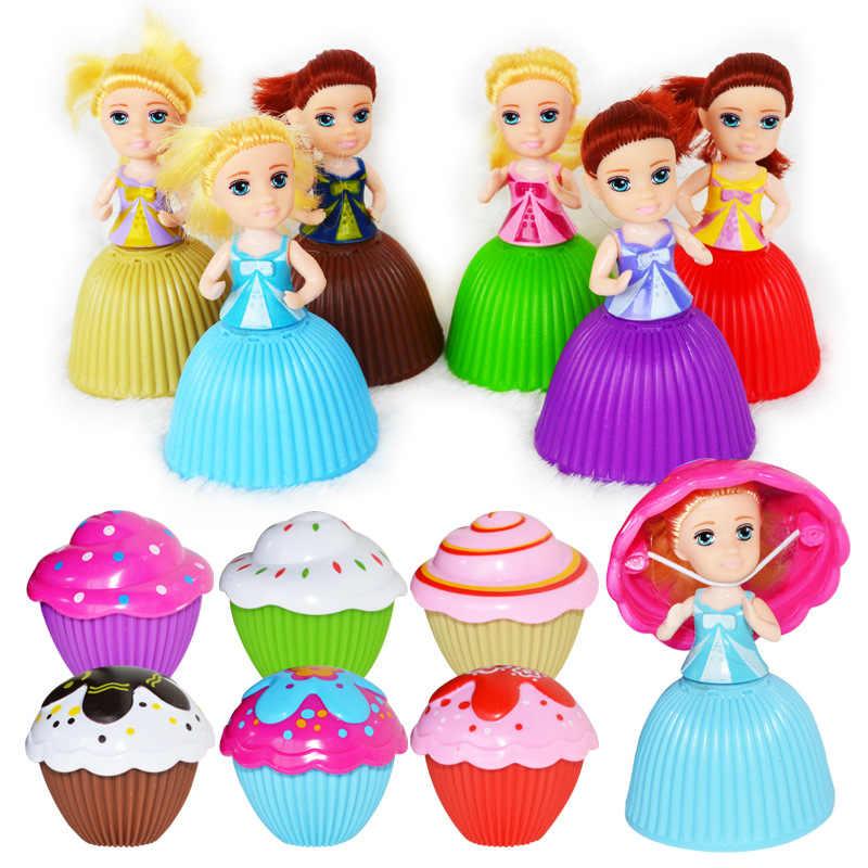 1PC Mini Cupcake Princesa Boneca Crianças Criativas Transformou Perfumado Bonito Crianças Brinquedo de Plástico Brinquedos Brincar de Casinha Jogo
