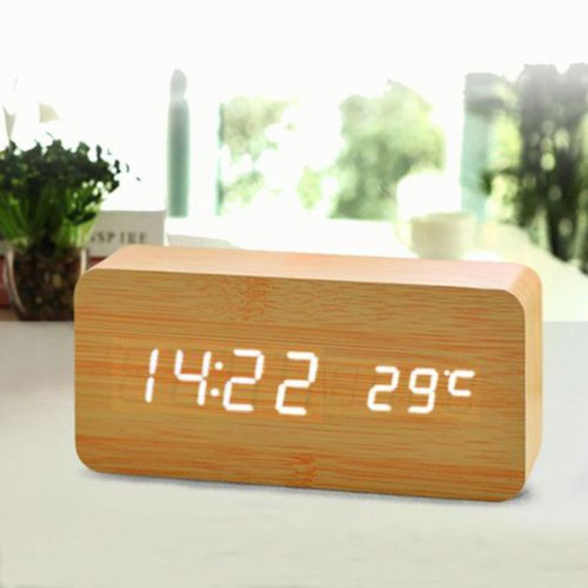 Voice Control Cube Wooden Clock USB/Battery LED Digital Desk Alarm Clock Thermometer Timer Calendar 15cmx4cmx7cm Drop Shipping