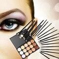 2017 20 Unids maquillaje Pinceles de Maquillaje Set Sombra de Ojos Delineador de ojos Pinceles con 15 Colores Contour Face Crema Corrector de Maquillaje Paleta