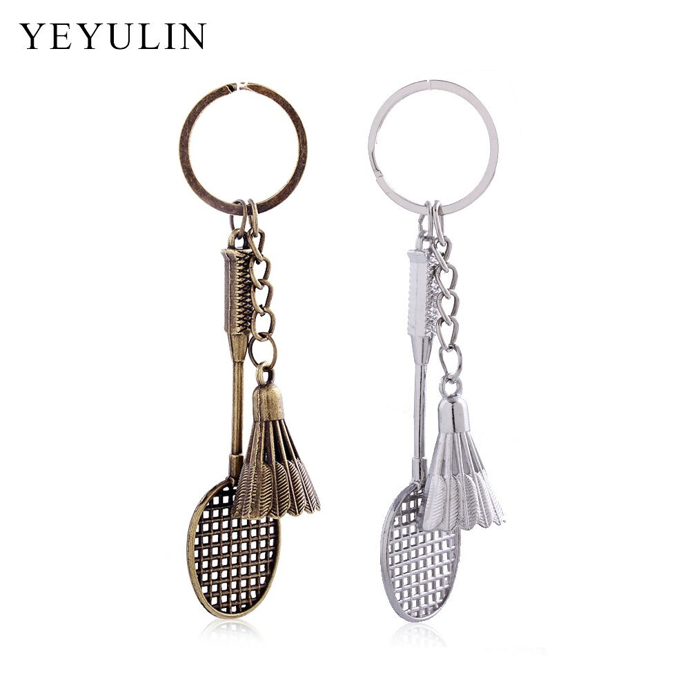 Antique Bronze Silver Metal Badminton Racket  Keychain Trendy Cute Mini Keychain For Woman Man Car Sports Key Ring Gifts