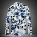 2017 spring new autumn high quality plus size 3XL 4XL 5XL rose print floral shirts men fashion flower shirts 5z