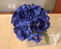 25 24CM Artificial Blue Silk Roses Flower Real Touch Rose Hydrangea Bouquet Holders For Bridal Bouquets