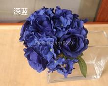 2524CM Silk Flower BouquetsArtificial Wedding BouquetsBlue Hydrangea Flowers For