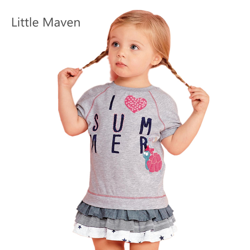 Little Maven Brand New Children's Summer Girls Short Sleeve O-neck  Letters Soft Knitted Cotton Fabric Cute Ruched Kids Dresses little maven 2017 new summer baby girls floral print dress brand clothes kids cotton duck rabbit printing dresses s0136