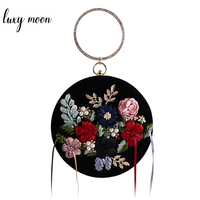 Exquisite Black Velour Women Evening Bags Handmade Embroidery Flower Tassel Lady Clutch Bag Round Shape Wedding Purse Handbag