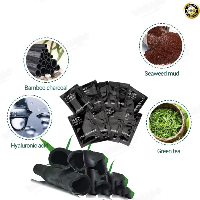 Dropshipping Bamboo charcoal Black Head Suction nose mask for Blackhead-cleaning 6g/bag, minerals Volcanic mud Shrink pores mask