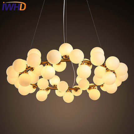 IWHD 25 Heads Lampen Iron Modern Pendant Light Fixtures Glass Ball LED Hanging Lamp Home Lighting Luminaire Suspendu Lustre iwhd led pendant light modern creative glass bedroom hanging lamp dining room suspension luminaire home lighting fixtures lustre