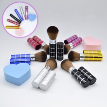 2017 Fashion Metal Retractable Makeup Brushes Synthetic Hair Single Cosmetic Brush Set Kit Power Brushes Foundation Make Up Tool