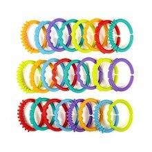 Купить с кэшбэком 0-12 Months Baby Rattles Toys Rainbow QQ Kids Molars Ring Teether Teddy Chain Clutch Ring Apron