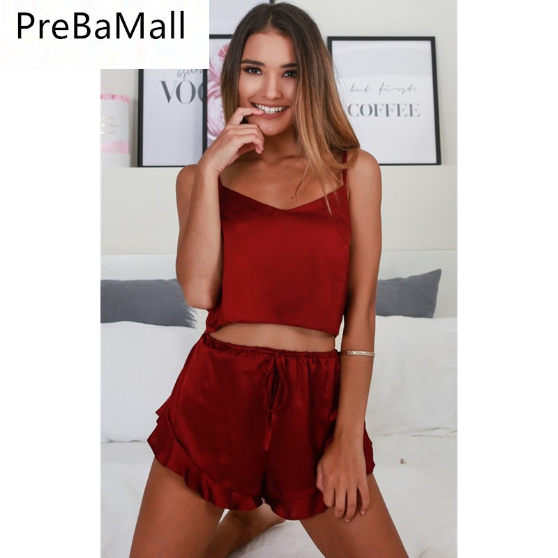Hot Sale Solid Sexy Two Piece Set Spaghetti Strap Sleeveless Crop Top And Loose Shorts Tracksuit Women Clothing C139 in Women 39 s Sets from Women 39 s Clothing