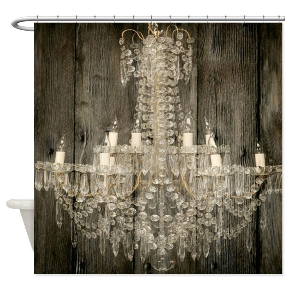 Shabby Chic Rustic Chandelier Decorative Fabric Shower Curtain 12 ...