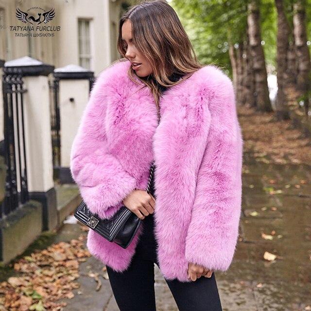533ca197a4fb Tatyana Furclub Natural Furry Brand Real Fox Fur Coat 65cm Women Winter Fur  Jacket With Full Pelt Luxury Coats Female Gift Mom
