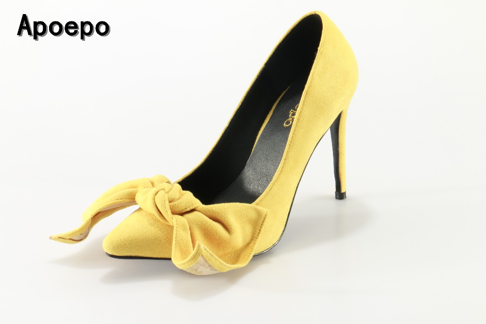Apoepo Hot selling yellow suede high heel shoes Sexy pointed big butterfly-knot dress shoes woman stiletto heels dress shoes apoepo hot selling green suede high heel