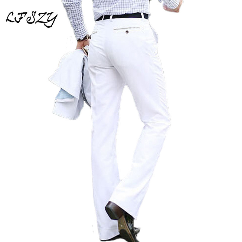 2019 New Men's Flared Trousers Formal Pants Bell Bottom Pant Dance White Suit Pants Formal Pants For Men Size 28-37