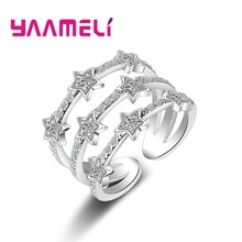 Real 925 Sterling Silver Rings Romantic Multilayers Twinkling CZ Crystal Stars Zircon Stone Jewelry for Women Nice Gift(China)