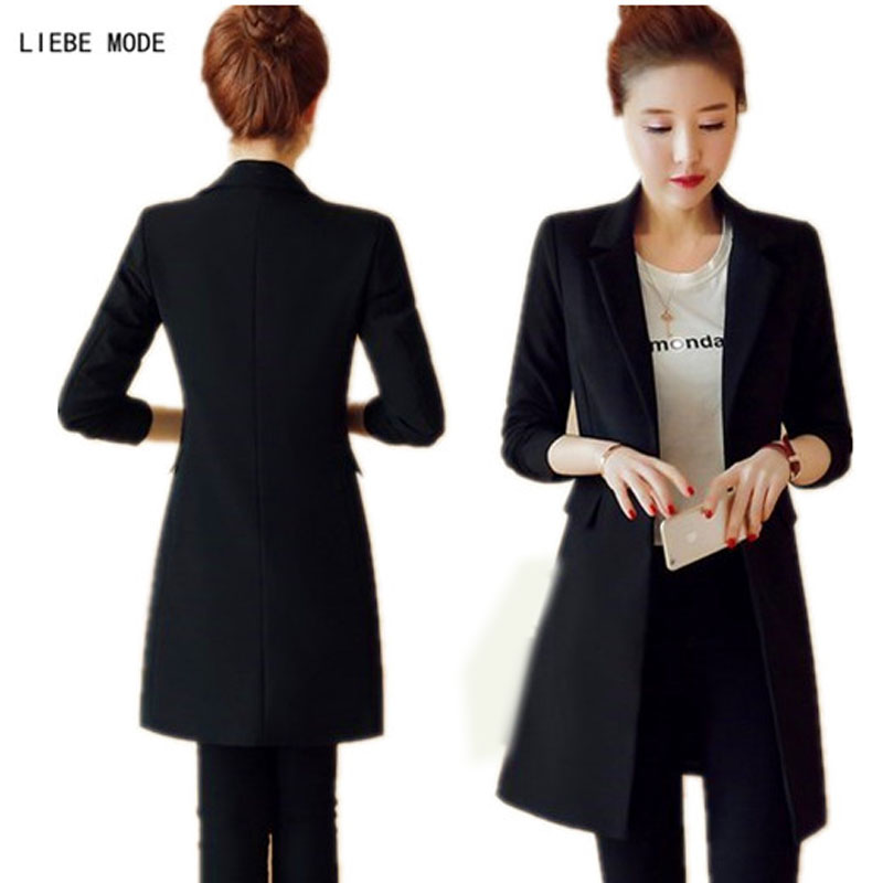 Pour Printemps Style Femme Coréen Cardigan Manteau Travail Veste Slim Femmes Longue Long Automne Costume Blazer Noir FPwPdT