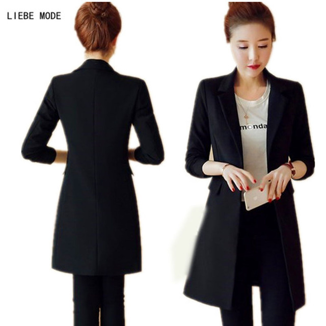 150d8c33c6cfa US $41.69 |Womens Spring Autumn Black Long Blazer Coat Korean Style Slim  Suit Jacket For Women Work Cardigan Blazer Long Femme-in Blazers from  Women's ...