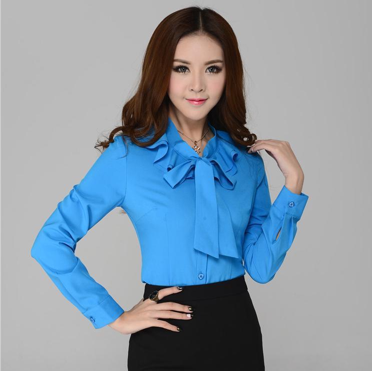Formal Work Blouses Women Shirts Long Sleeve Fashion New