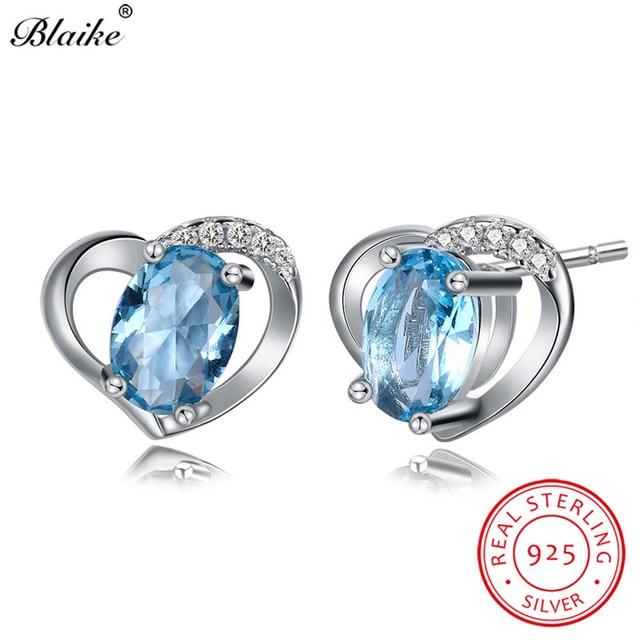 Blaike S925 Sterling Silver Oval Aquamarine Cute Heart Stud Earrings March Birthstone Aaa Zircon Double