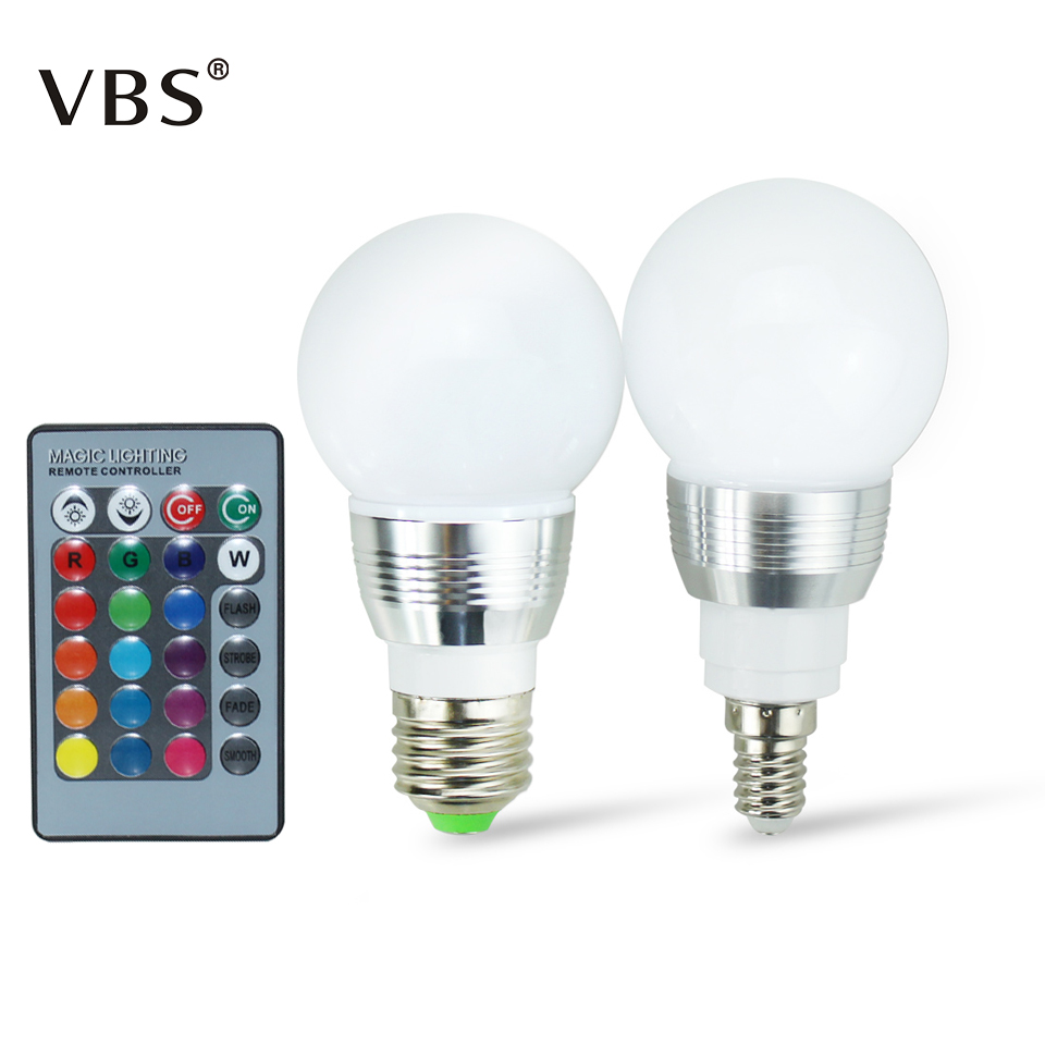 LED RGB bulb 5W 85-265V led lamp light led bulbs e27 E14 dimmable light Lighting IR Remote Control 16 Colors 270 Degree