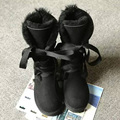UVWP  Fashion High Snow boots Women boots 100% Genuine Sheepskin Leather Lace up Long boots Natural Fur Warm Wool Winter Boots