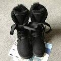 UVWP Moda Alto botas de Neve Mulheres botas 100% Genuínos botas de Pele De Carneiro Rendas até botas Longas de couro Natural Pele De Lã Quente de Inverno botas