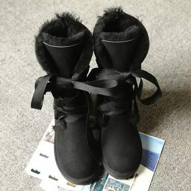 UVWP Moda de Alta botas de Nieve de Las Mujeres botas 100% de piel de Oveja Genuina Ata para arriba botas Largas de cuero Natural de Piel de Lana Caliente de Invierno botas