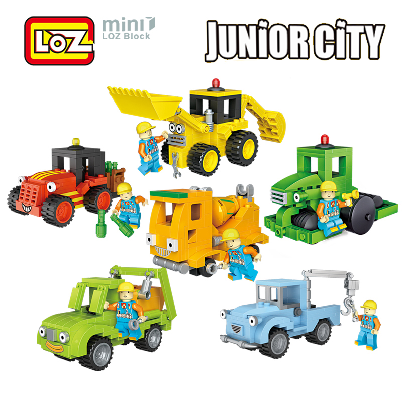 LOZ City Engineer Mini Truck Building Blocks Action Figure Toy Figures Block Toys for Children 1511 - 1516 loz 340pcs l 9521 arrow action figure building block educational toy for brain thinking