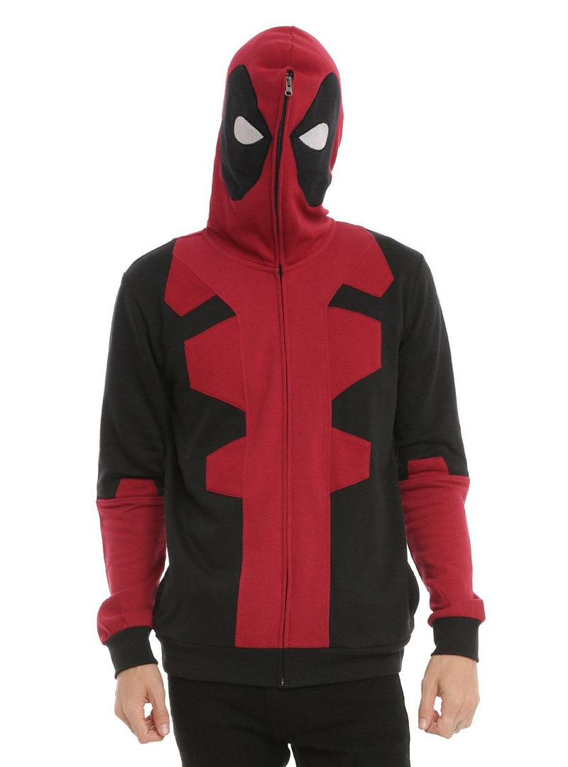 X-Man Deadpool Costume Masked Full Zip Hoodie Cosplay Size S/M/L/XL