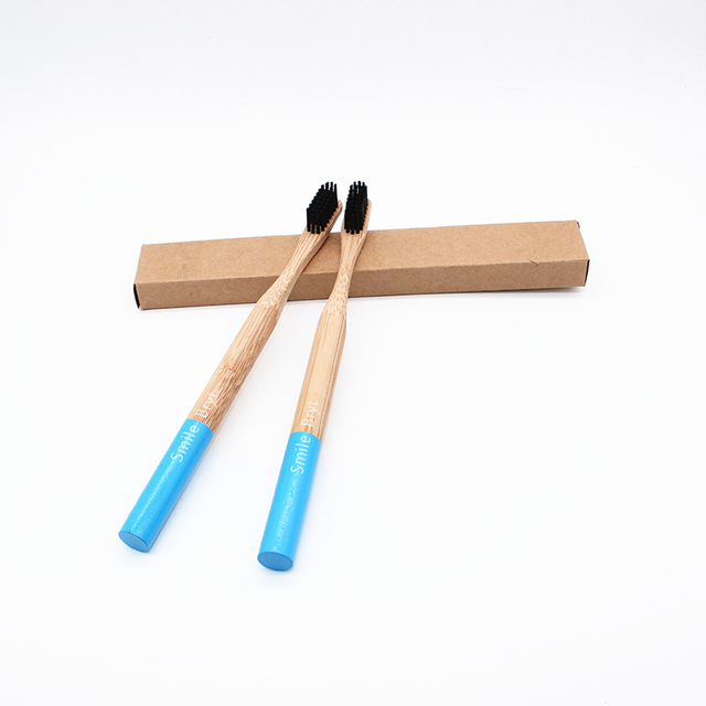 Black Head Bamboo Toothbrush 2pcs 1