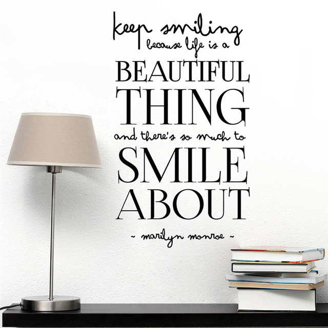 Keep Smiling Life Is A Beautiful Thing Quotes Wall Arts Home