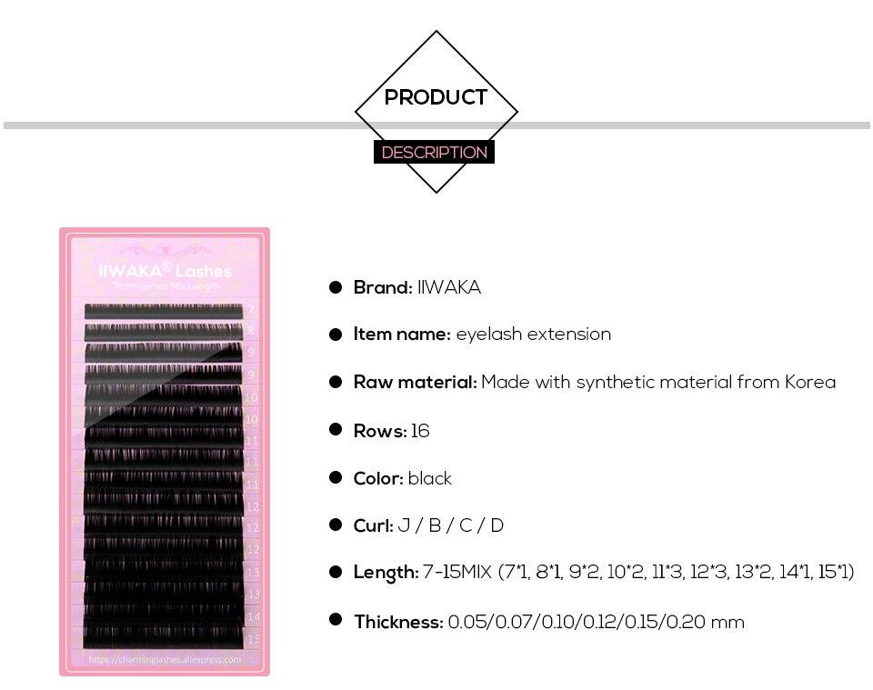 IIWAKA eyelashes Premium Silk Eyelash Extensions Individual False Mink  Lashes J/B/C/D Curl