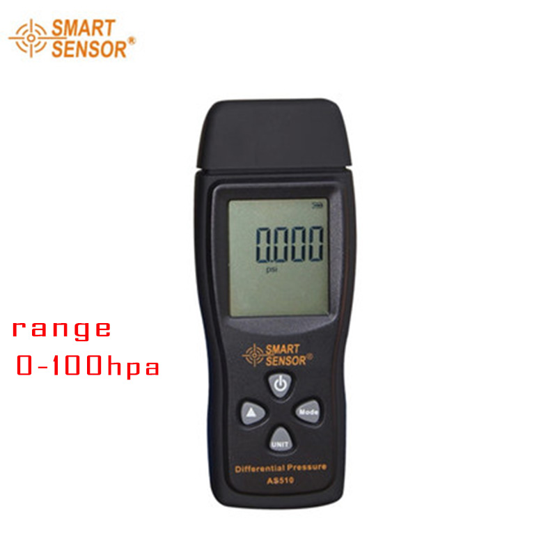 Smart sensor Brand AS510 Digital air pressure Differential Pressure Meter 0-100 hPa professional digital differential air pressure manometer gauge lot of 3 with sensor by honeywell usa