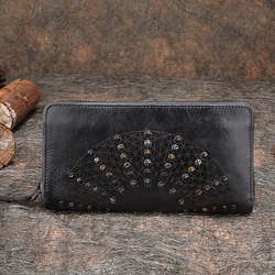 2019 New Handmade Women Wallet Retro Genuine Leather Female Clutch Wallet Rivet Design Cow Leather Cell Phone Purse