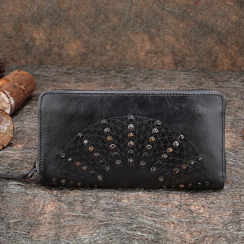 2019 neue Handgemachte Frauen Brieftasche Retro Echtem Leder Weibliche Kupplung Brieftasche Niet Design Kuh Leder Handy Geldbörse-in Geldbeutel aus Gepäck & Taschen bei  Gruppe 1