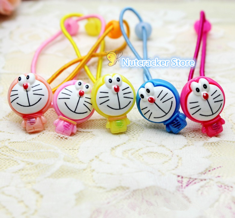5Pcs Doraemon Hair Rope Fashion Animal Hair Accessories Colorful Cat Headwear Cartoon Characters Elastic Hair Bands