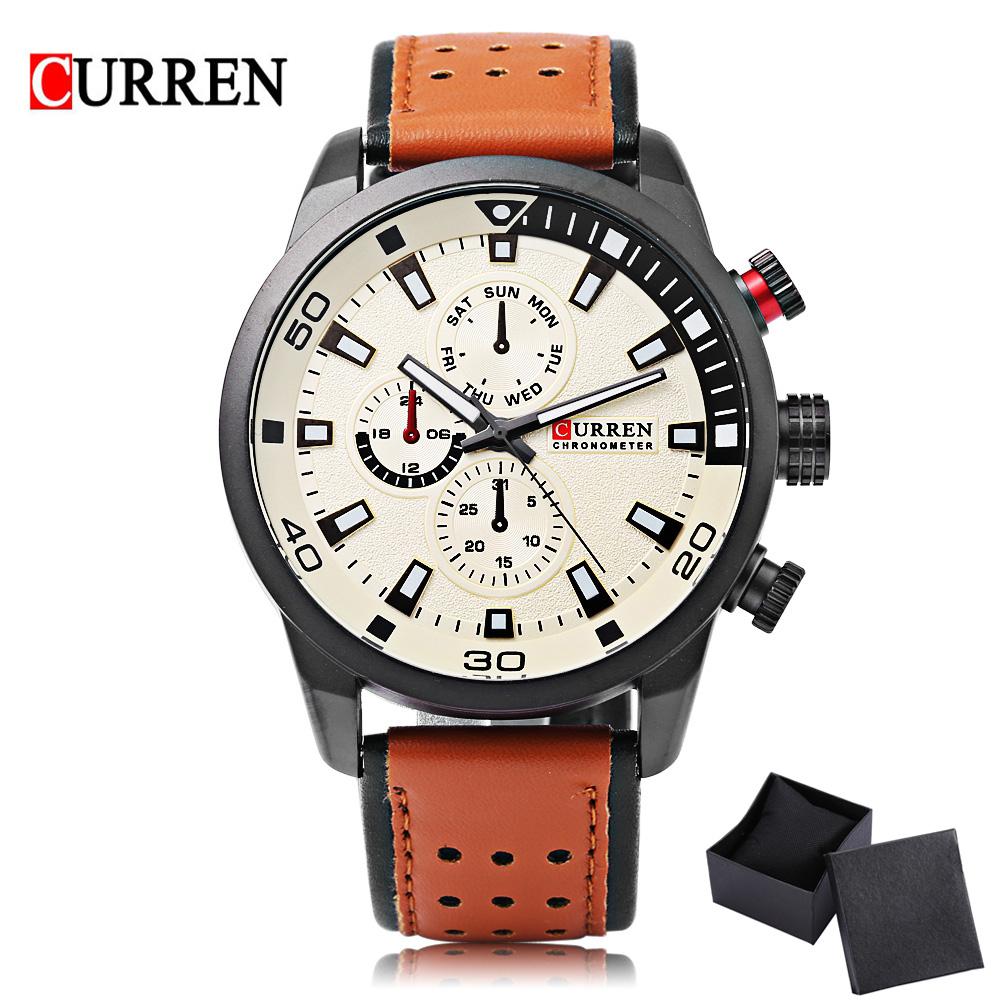 Prix pour CURREN 8250 Sport Hommes Quartz Montre De Mode Simple Relogio Masculino Hommes Militaire Montres Véritable En Cuir Horloge Hommes Montre-Bracelet