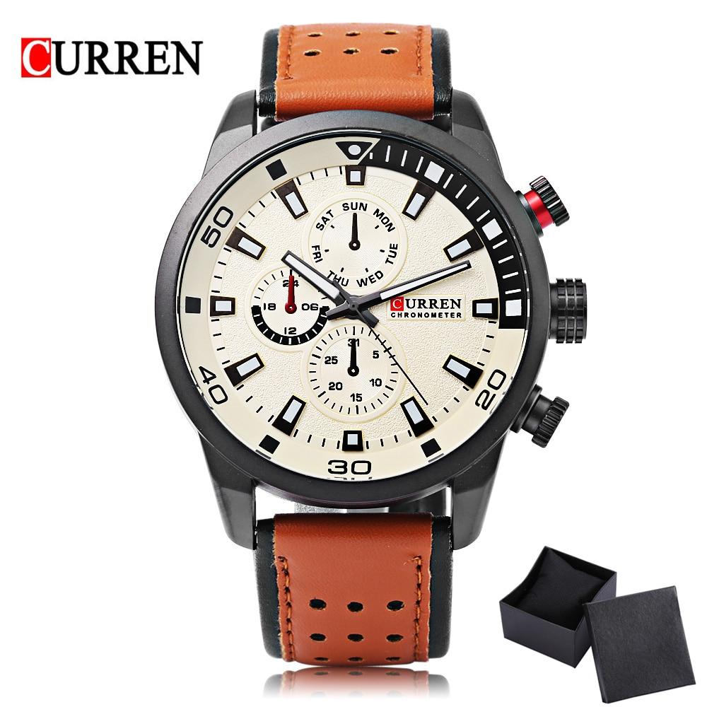 805ca7d80481 Curren 8250 cuarzo de los hombres del deporte reloj de moda simple Relogio  masculino hombres Militar relojes Cuero auténtico reloj hombres reloj