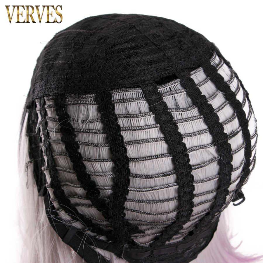 VERVES ombre sentetik peruk bob peruk 8 renk seçenekleri sentetik kısa saç kesimi peruk cosplay saç filesi ile kadın peruk siyah, gri