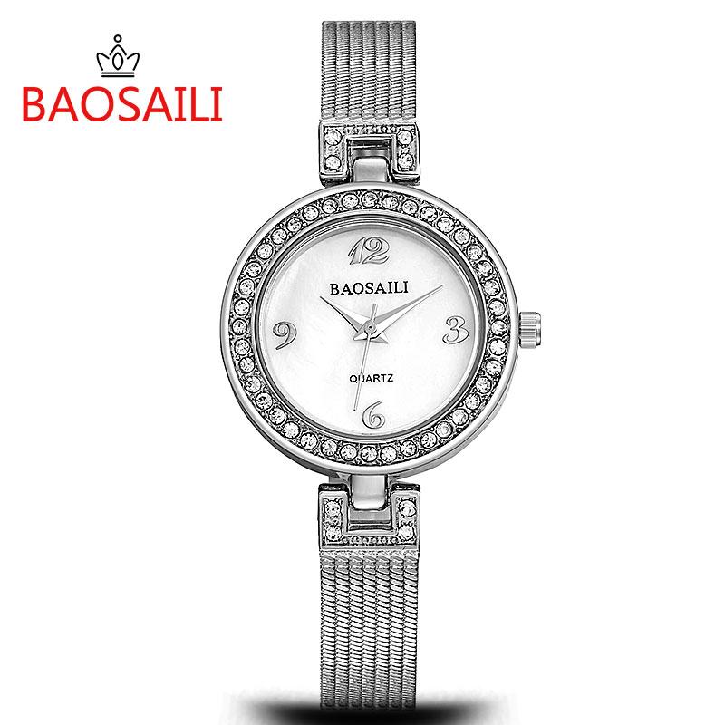 Prix pour BSL988 BAOSAILI Célèbre Marque Quartz Femmes Montres Diamant Horloge Bracelet Dames Robe Or Montre-Bracelet femelle