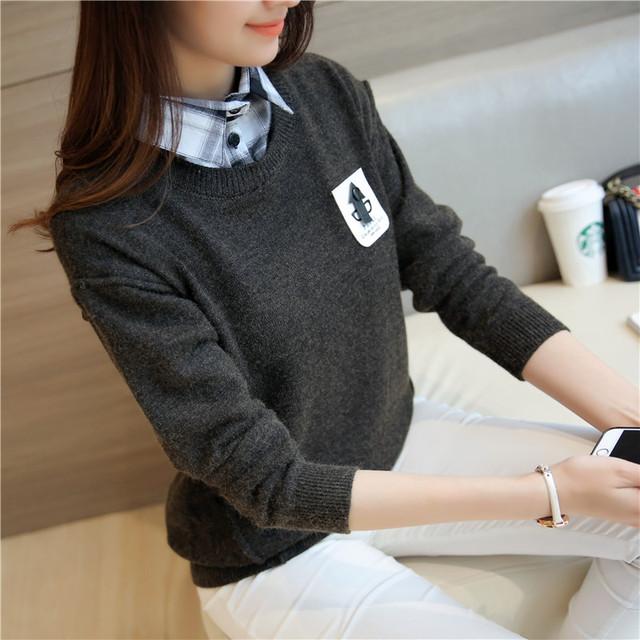 4342 nuevo vestido de invierno suéter cuello de la camisa 50