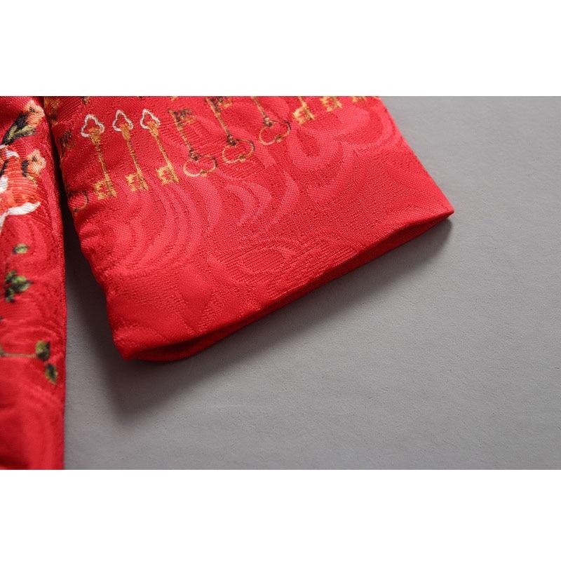 Moda Red Girls Cardigan Printing Dziecko Zima Płaszcze Festiwal - Ubrania dziecięce - Zdjęcie 4