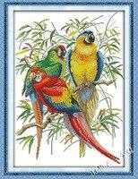 New Scarlet Macaw Bird DMC Animal Cross Stitch Kits 14ct 11ct White Printed Embroidery DIY Handmade