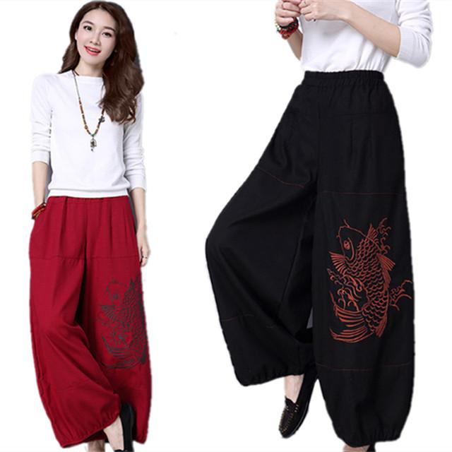 Negro Harem Pantalones de Las Mujeres 2017 Pantalones de Lino de Algodón Bordado Más Tamaño Largo Harem Pantalones Casual Pantalones de Pierna Ancha Cintura Elástica