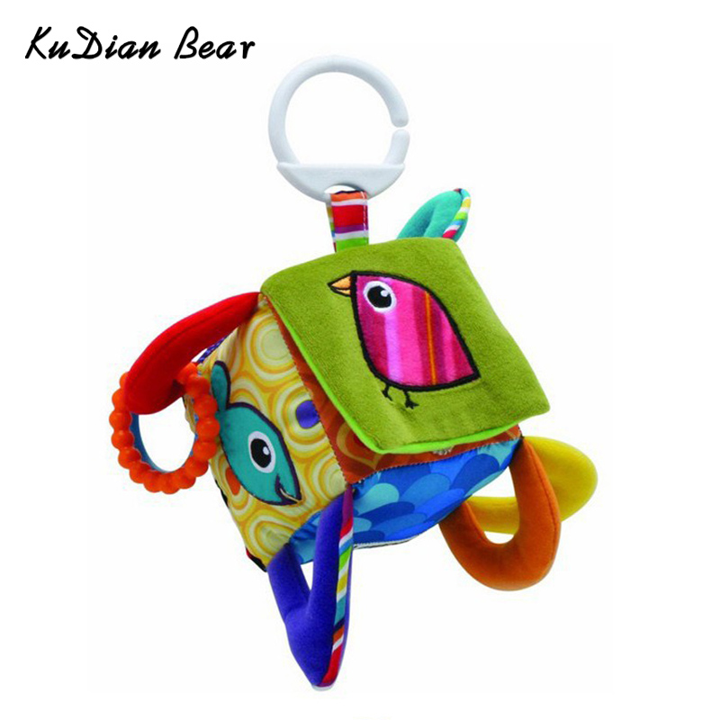 Early Educational Mobile Baby Toy Bird Square Plush Block Clutch Cube Rattles Baby Toys 0-12 Months -- BYC006 PT15