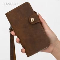 LANGSIDI brand mobile phone shell leather retro clamshell leather handphone shell for xiaomi Mi 5 Plus handmade handphone shell