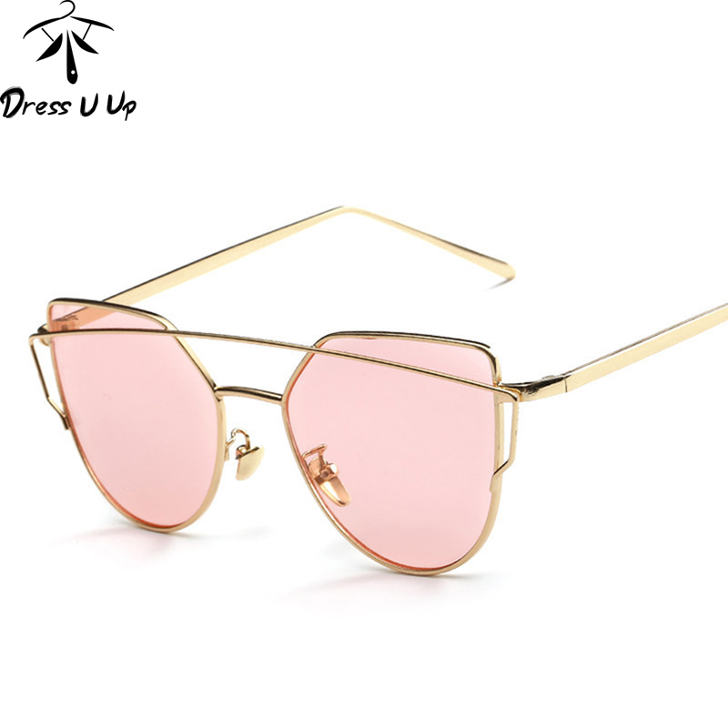 Dressuup Cat Eye Sunglasses Women Brand Designer Vintage Ocean Color Lens Twin-beams Men Flat Panel Sun Glasses Oculos De Sol Women's Glasses