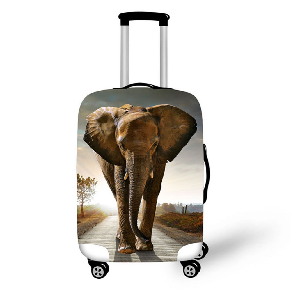3D Elephant Pattern Print Travel Luggage Suitcase Protective Cover Stretch Waterproof Portable Luggage Covers Rain Cover