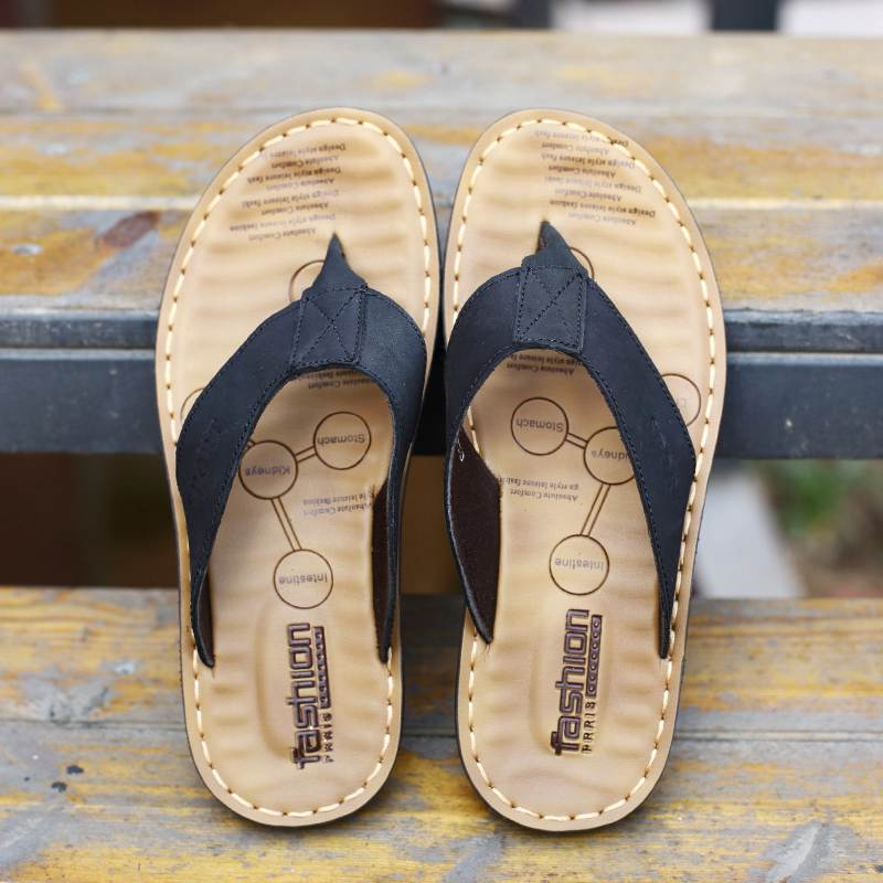 New Arrival Summer Cowhide Leather Men Flip Flops Shoes Genuine - Men's Shoes - Photo 4